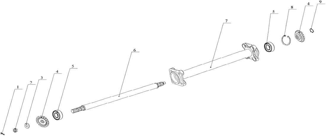 Трансмиссия средняя (в сборе) для роторной косилки Заря КР.05.300